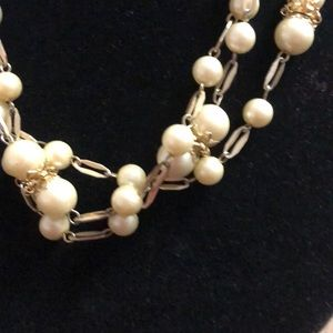 Jewelry - Pearl and Gold metal necklace. 48 inches